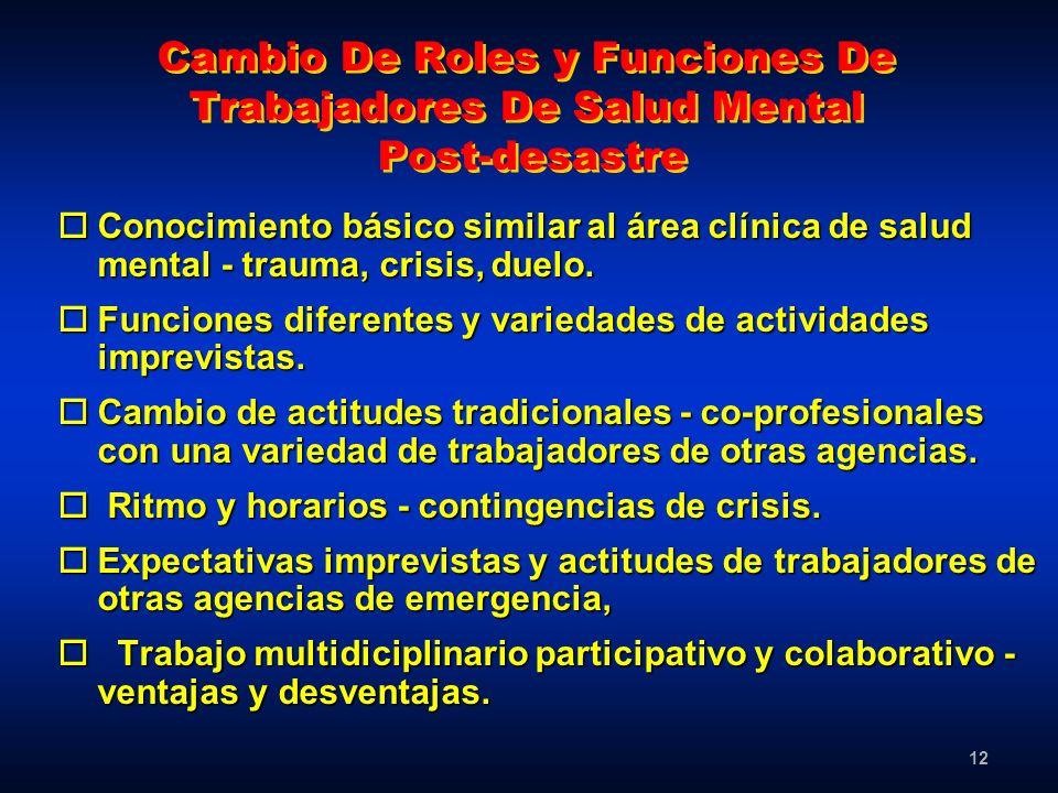 12 Cambio De Roles y Funciones De Trabajadores De Salud Mental Post-desastre oConocimiento básico similar al área clínica de salud mental - trauma, cr