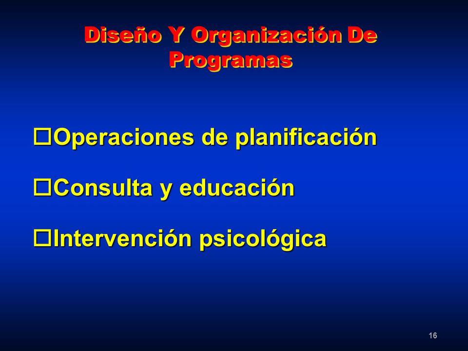 16 Diseño Y Organización De Programas oOperaciones de planificación oConsulta y educación oIntervención psicológica