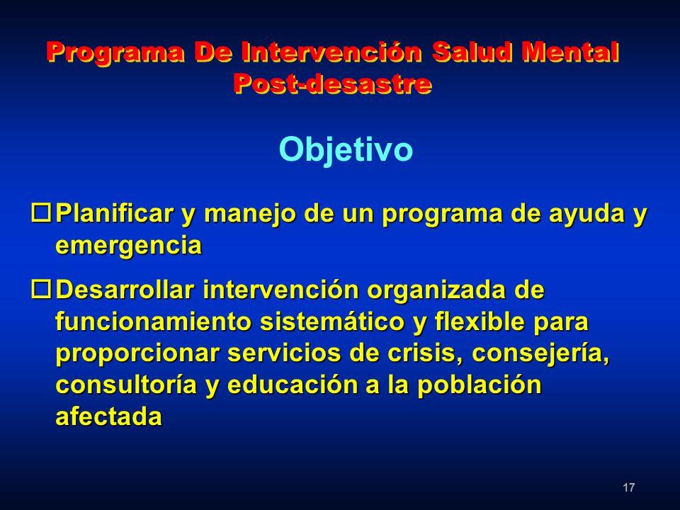 17 Programa De Intervención Salud Mental Post-desastre oPlanificar y manejo de un programa de ayuda y emergencia oDesarrollar intervención organizada