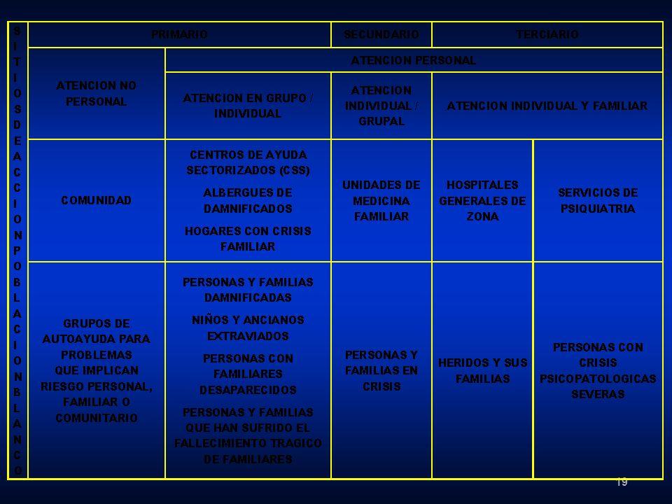 20 TABLA 2 - Planeación e intervención de los trabajadores de salud mental después de desastres