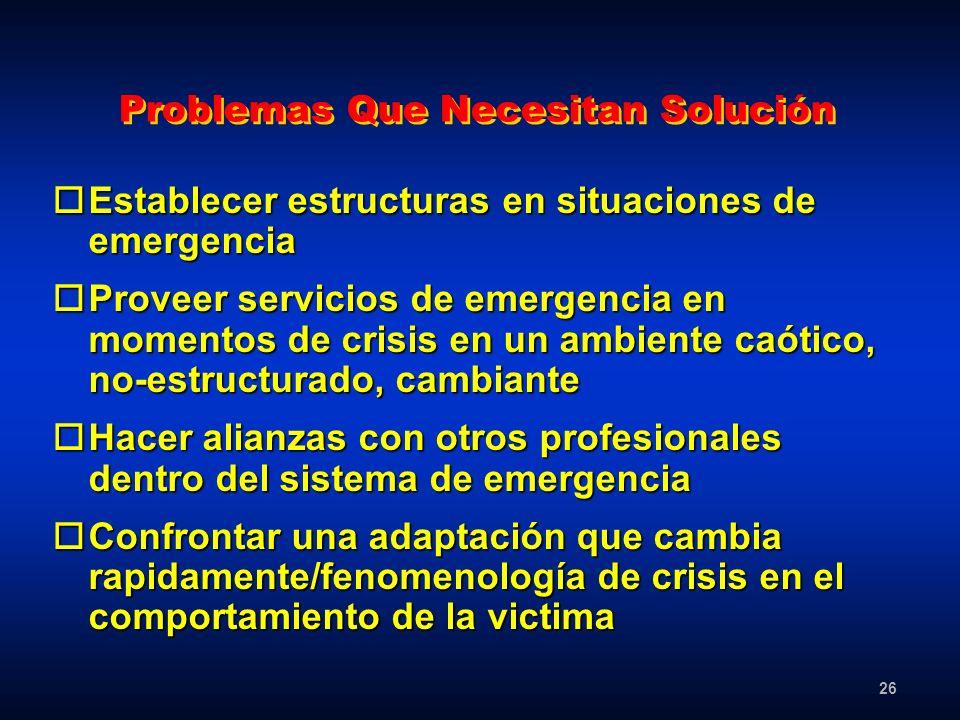 26 Problemas Que Necesitan Solución oEstablecer estructuras en situaciones de emergencia oProveer servicios de emergencia en momentos de crisis en un