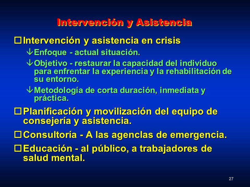 27 Intervención y Asistencia oIntervención y asistencia en crisis âEnfoque - actual situación. âObjetivo - restaurar la capacidad del individuo para e