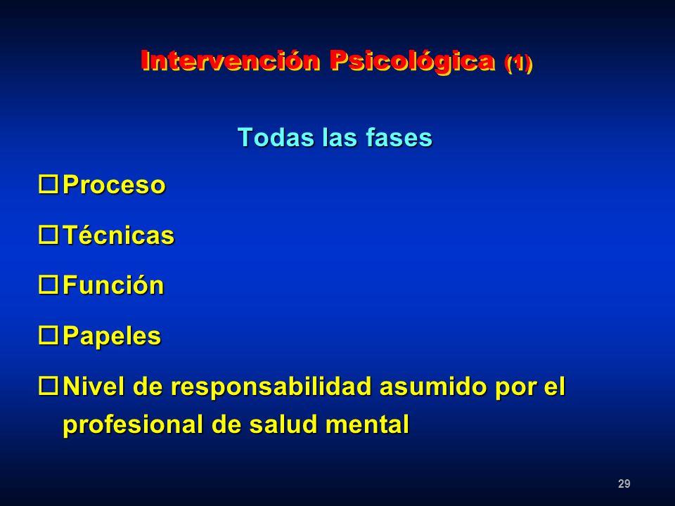 29 Intervención Psicológica (1) Todas las fases oProceso oTécnicas oFunción oPapeles oNivel de responsabilidad asumido por el profesional de salud men