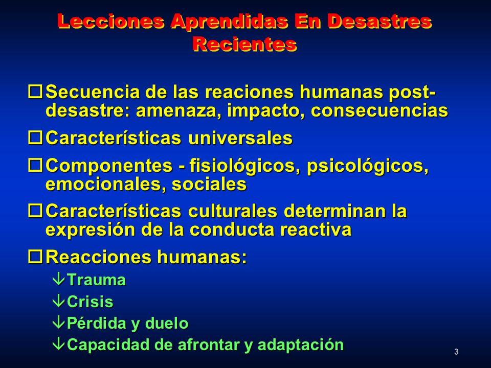 3 Lecciones Aprendidas En Desastres Recientes oSecuencia de las reaciones humanas post- desastre: amenaza, impacto, consecuencias oCaracterísticas uni