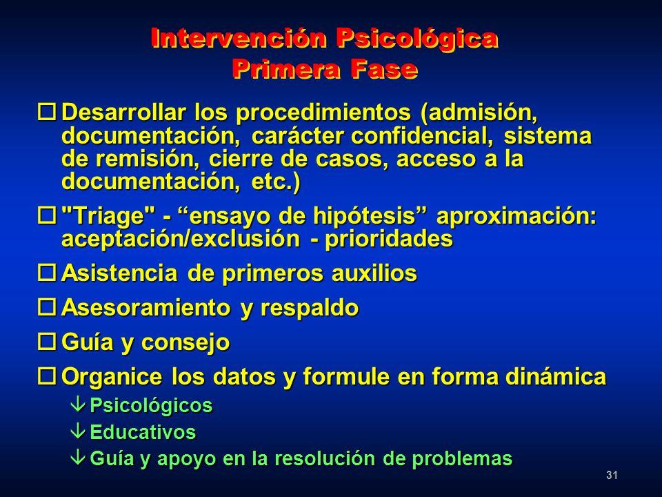 31 Intervención Psicológica Primera Fase oDesarrollar los procedimientos (admisión, documentación, carácter confidencial, sistema de remisión, cierre