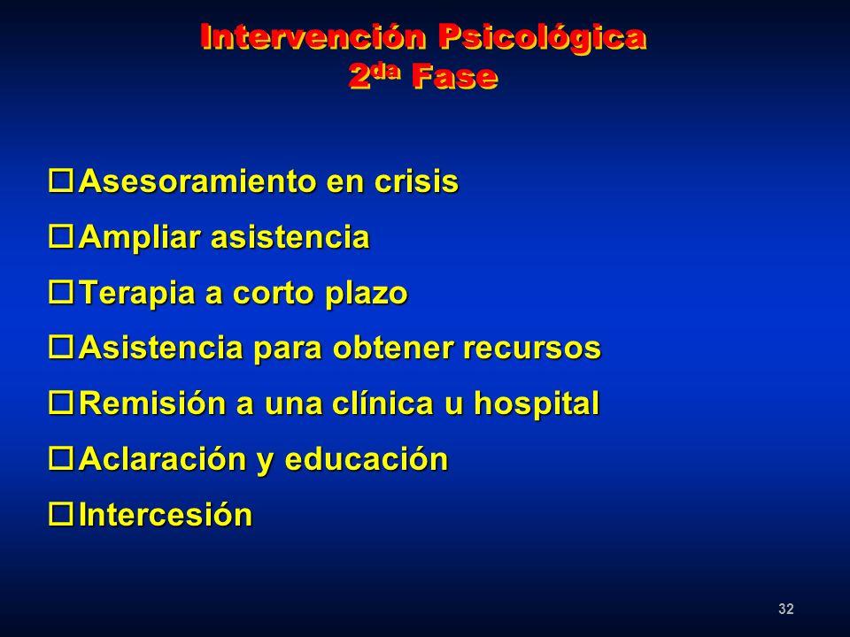32 Intervención Psicológica 2 da Fase oAsesoramiento en crisis oAmpliar asistencia oTerapia a corto plazo oAsistencia para obtener recursos oRemisión