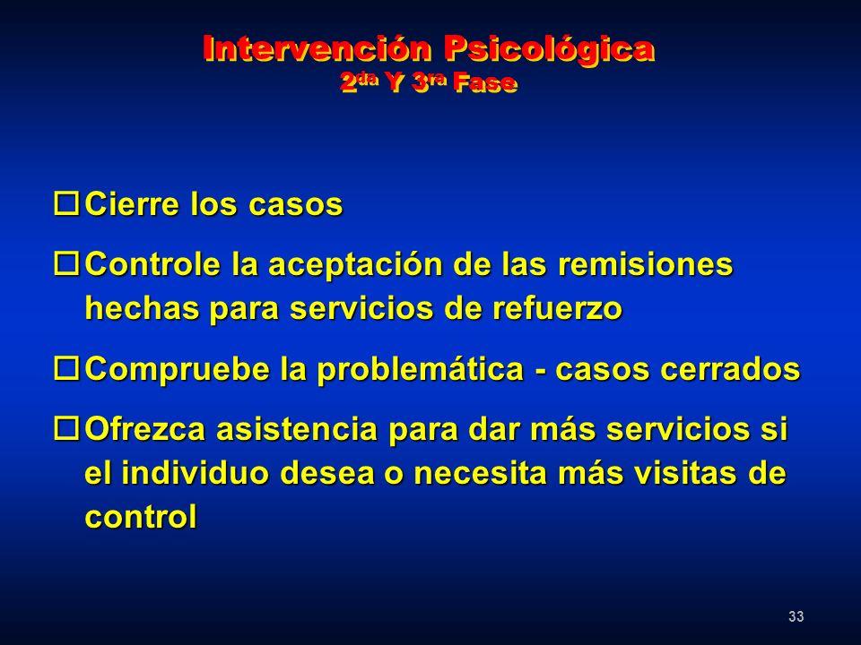 33 Intervención Psicológica 2 da Y 3 ra Fase oCierre los casos oControle la aceptación de las remisiones hechas para servicios de refuerzo oCompruebe
