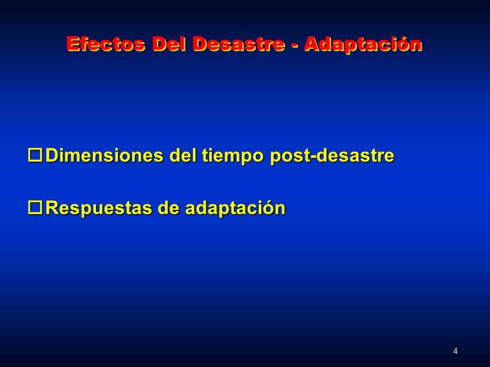 4 Efectos Del Desastre - Adaptación oDimensiones del tiempo post-desastre oRespuestas de adaptación