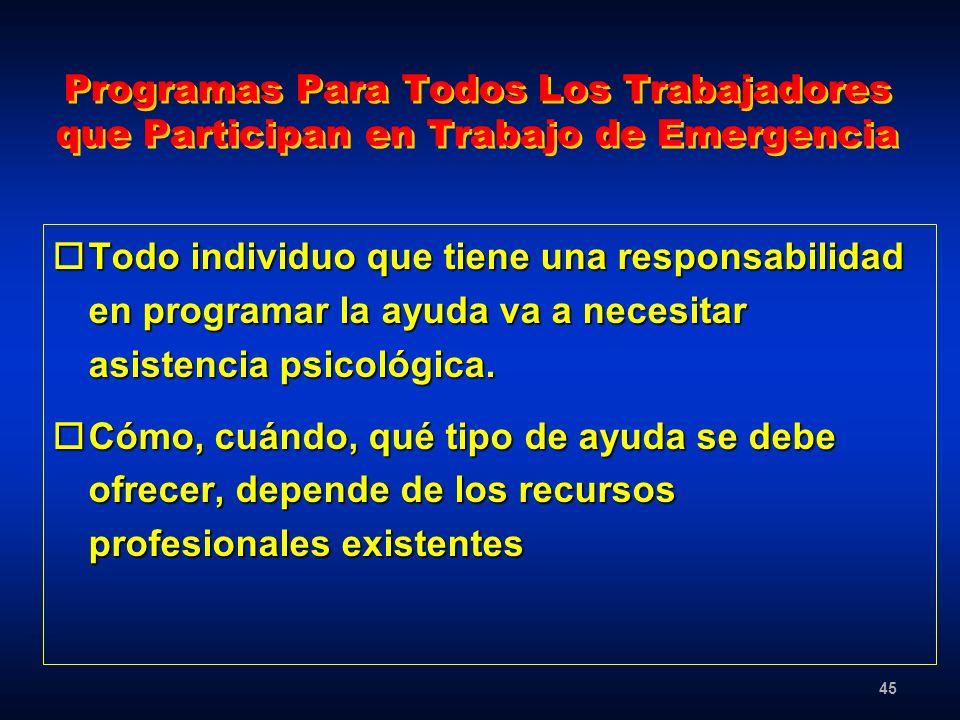 45 Programas Para Todos Los Trabajadores que Participan en Trabajo de Emergencia oTodo individuo que tiene una responsabilidad en programar la ayuda v