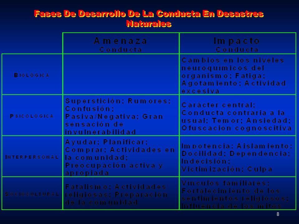 8 Fases De Desarrollo De La Conducta En Desastres Naturales