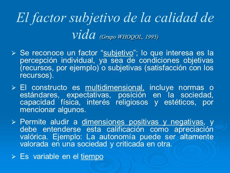 (Grupo WHOQOL, 1995) El factor subjetivo de la calidad de vida (Grupo WHOQOL, 1995) Se reconoce un factor subjetivo; lo que interesa es la percepción