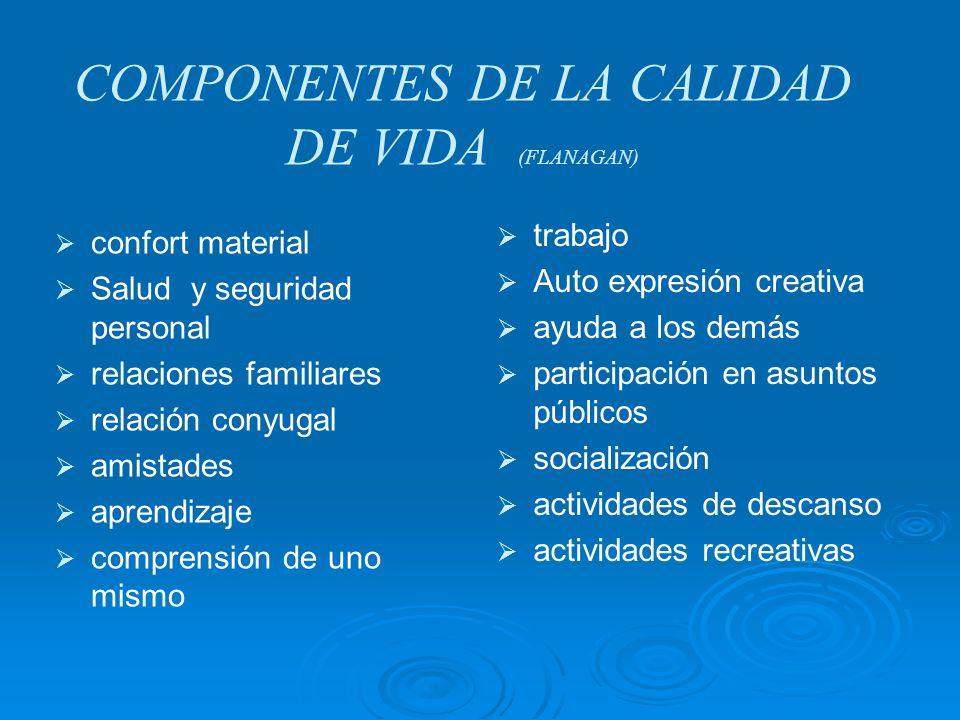 COMPONENTES DE LA CALIDAD DE VIDA (FLANAGAN) confort material Salud y seguridad personal relaciones familiares relación conyugal amistades aprendizaje