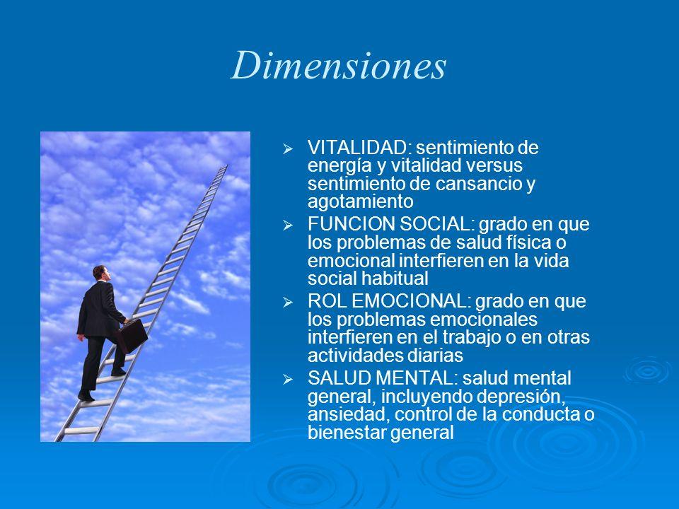 Dimensiones VITALIDAD: sentimiento de energía y vitalidad versus sentimiento de cansancio y agotamiento FUNCION SOCIAL: grado en que los problemas de