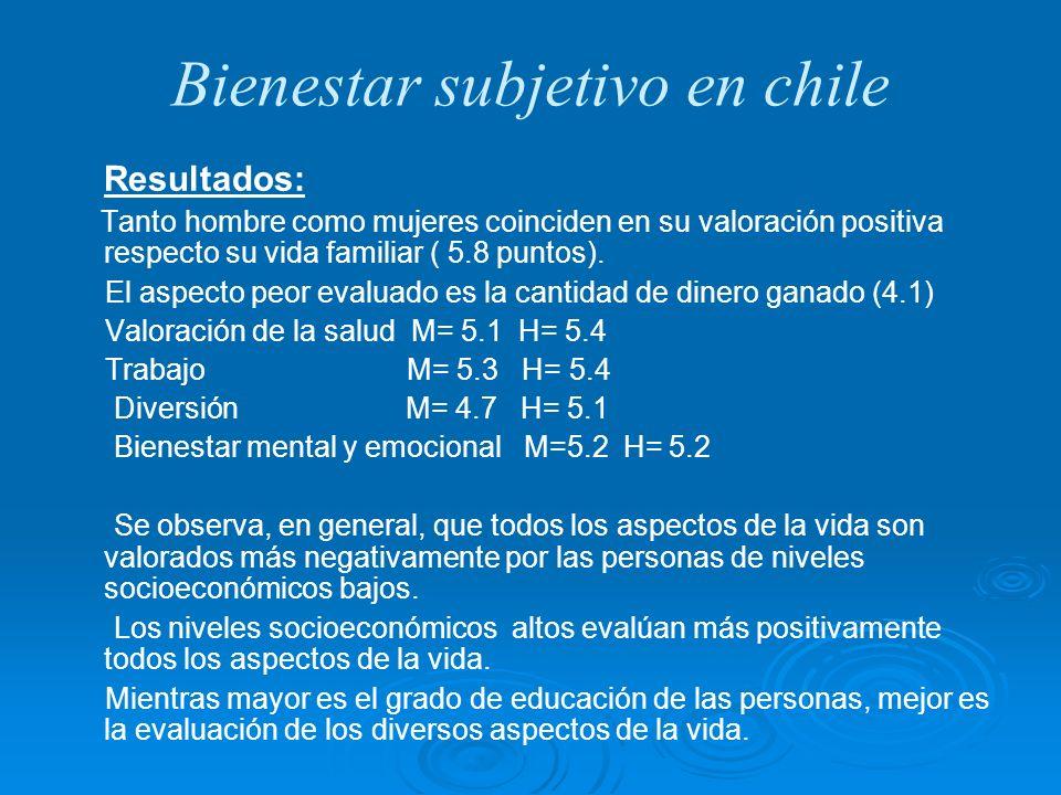 Bienestar subjetivo en chile Resultados: Tanto hombre como mujeres coinciden en su valoración positiva respecto su vida familiar ( 5.8 puntos). El asp