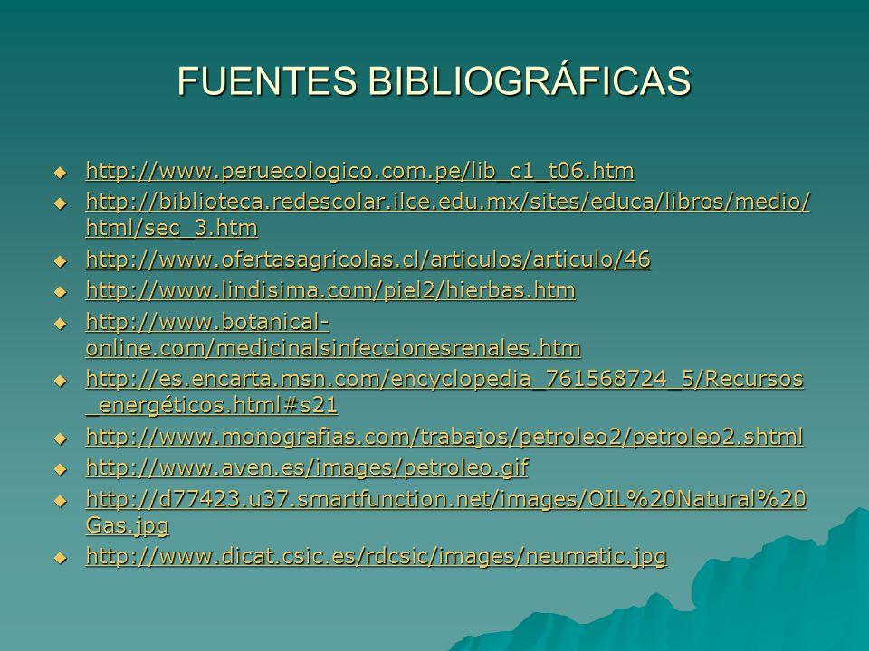 FUENTES BIBLIOGRÁFICAS http://www.peruecologico.com.pe/lib_c1_t06.htm http://www.peruecologico.com.pe/lib_c1_t06.htm http://www.peruecologico.com.pe/l