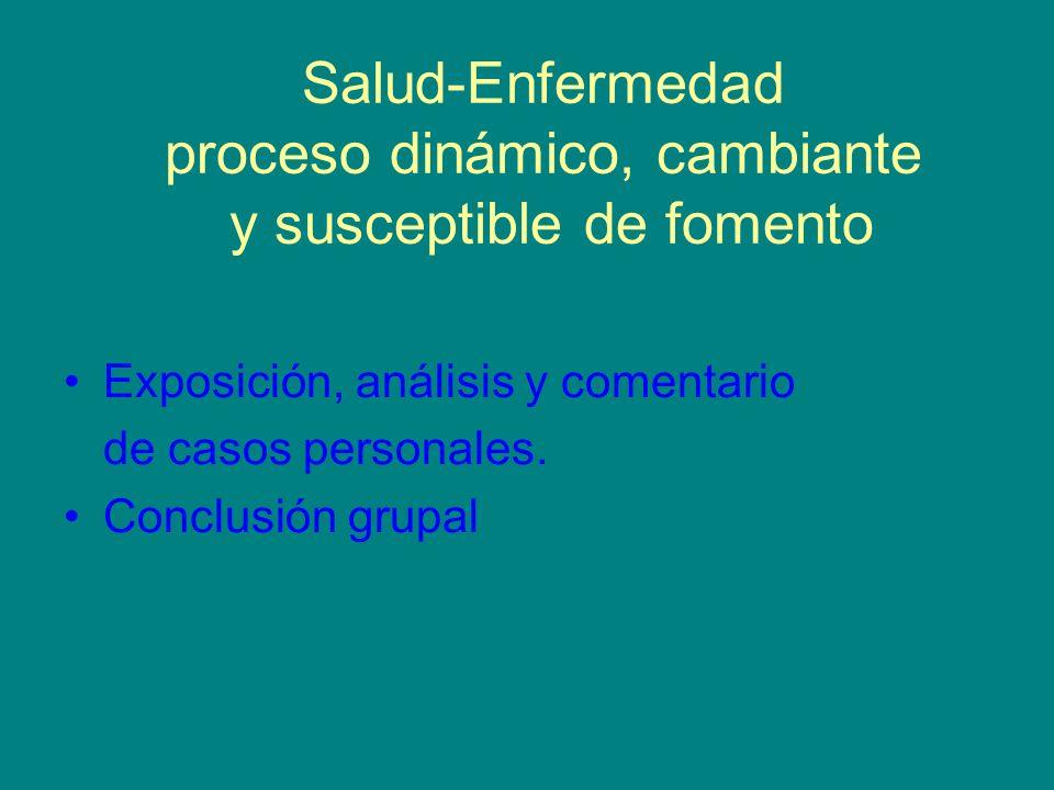 Salud-Enfermedad proceso dinámico, cambiante y susceptible de fomento Exposición, análisis y comentario de casos personales. Conclusión grupal