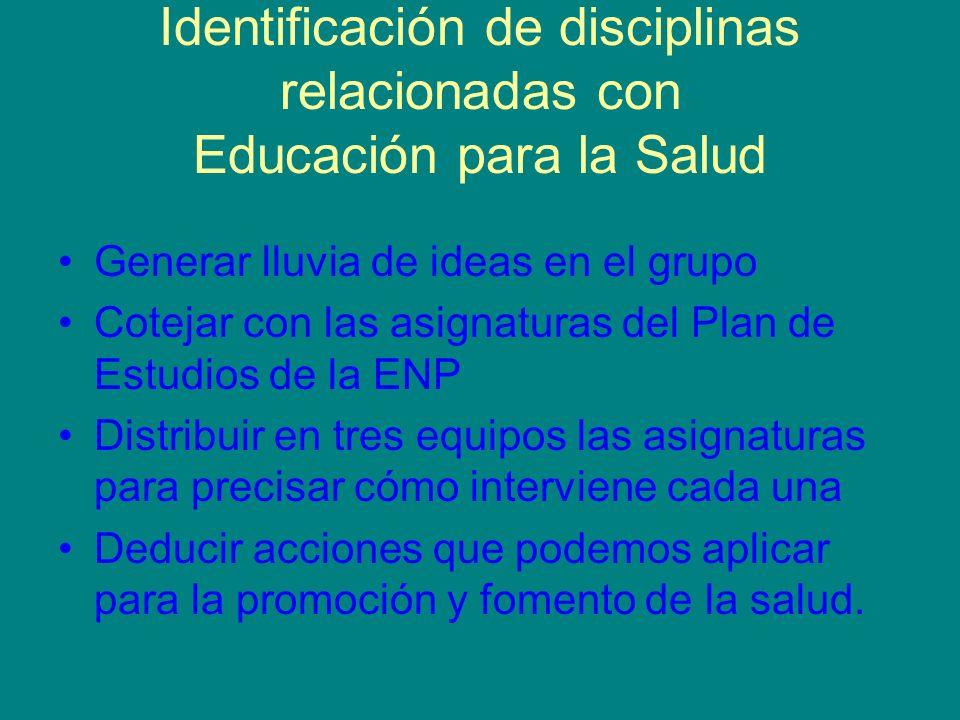 Identificación de disciplinas relacionadas con Educación para la Salud Generar lluvia de ideas en el grupo Cotejar con las asignaturas del Plan de Est