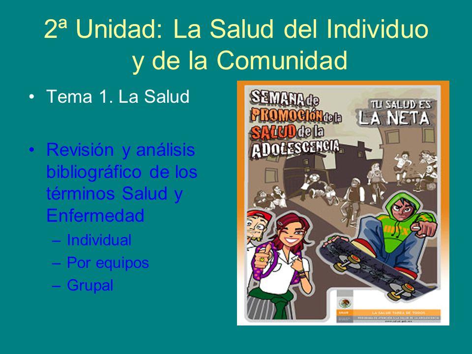 2ª Unidad: La Salud del Individuo y de la Comunidad Tema 1. La Salud Revisión y análisis bibliográfico de los términos Salud y Enfermedad –Individual