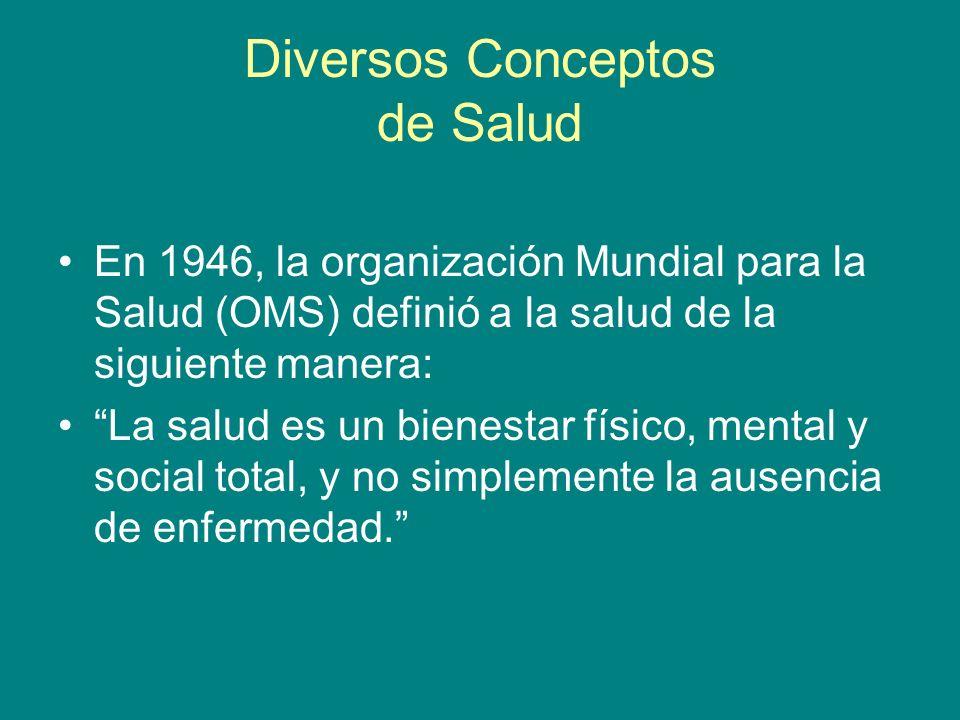 Diversos Conceptos de Salud En 1946, la organización Mundial para la Salud (OMS) definió a la salud de la siguiente manera: La salud es un bienestar f
