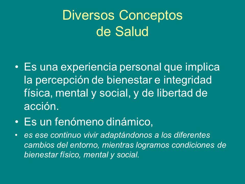 Diversos Conceptos de Salud Es una experiencia personal que implica la percepción de bienestar e integridad física, mental y social, y de libertad de
