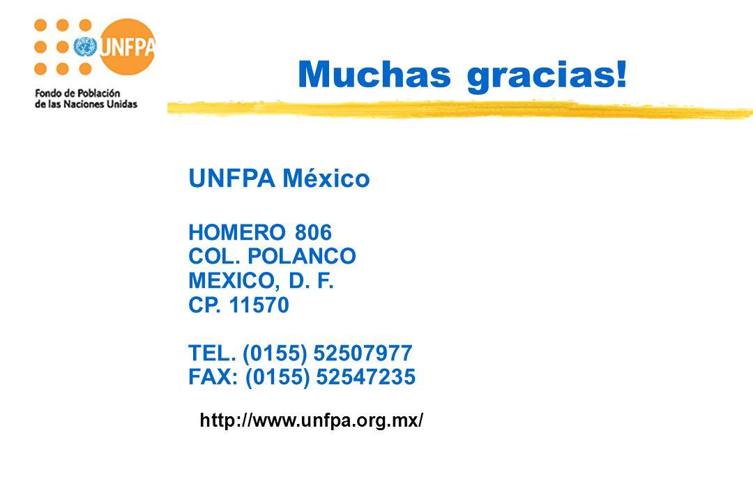 FONDO DE POBLACION DE Muchas gracias. UNFPA México HOMERO 806 COL.
