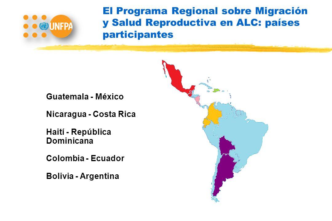 El Programa Regional sobre Migración y Salud Reproductiva en ALC: países participantes Guatemala - México Nicaragua - Costa Rica Haití - República Dominicana Colombia - Ecuador Bolivia - Argentina