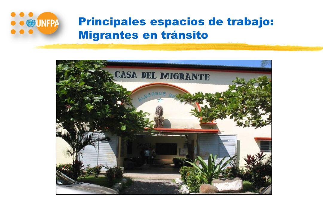 Principales espacios de trabajo: Migrantes en tránsito