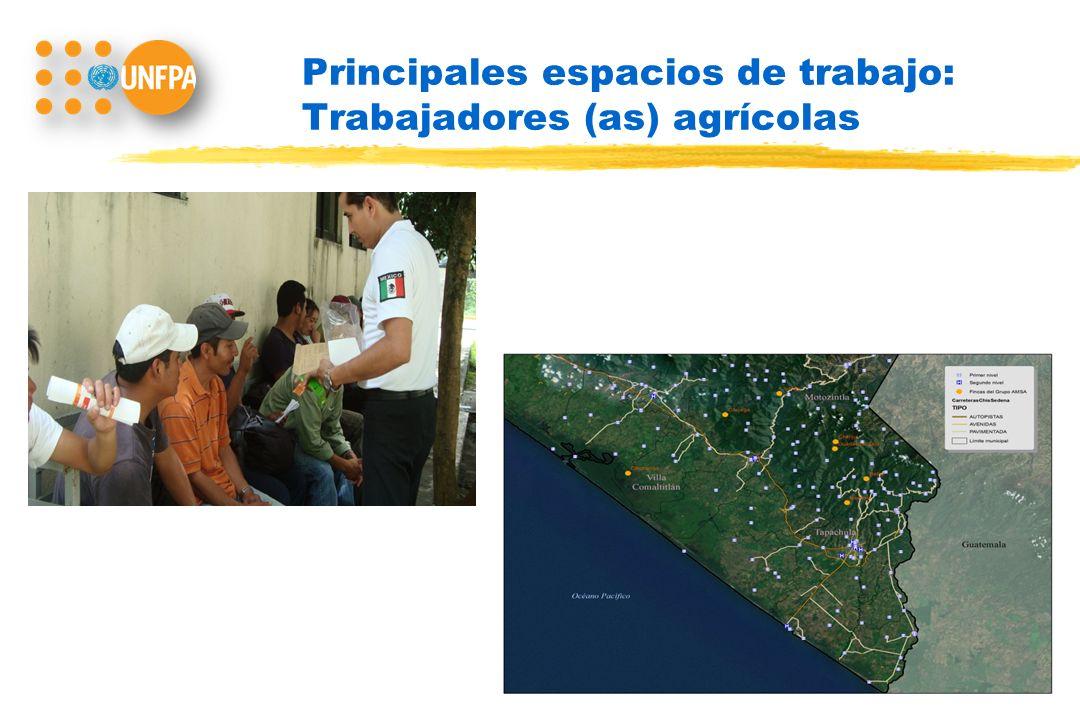 Principales espacios de trabajo: Trabajadores (as) agrícolas