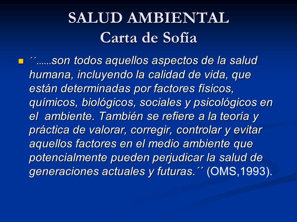 SALUD AMBIENTAL Carta de Sofía ´´...... son todos aquellos aspectos de la salud humana, incluyendo la calidad de vida, que están determinadas por fact