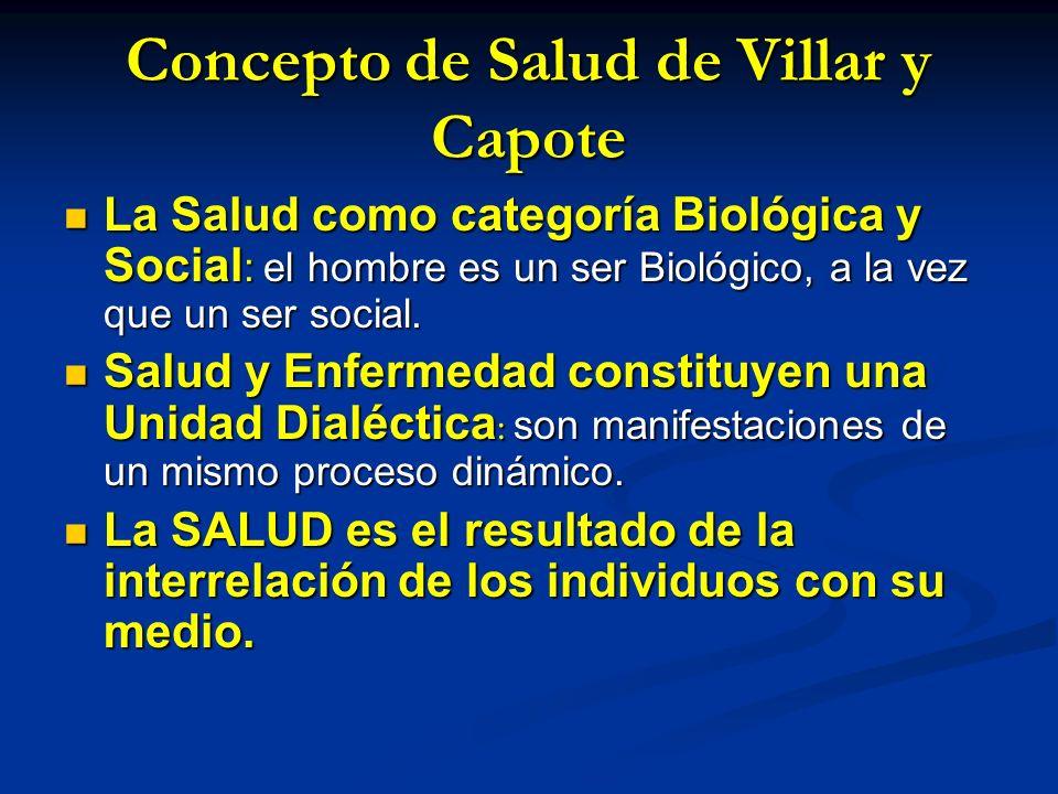 Concepto de Salud de Villar y Capote La Salud como categoría Biológica y Social : el hombre es un ser Biológico, a la vez que un ser social. La Salud
