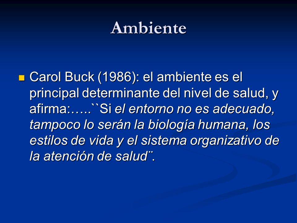 Ambiente Carol Buck (1986): el ambiente es el principal determinante del nivel de salud, y afirma:…..``Si el entorno no es adecuado, tampoco lo serán