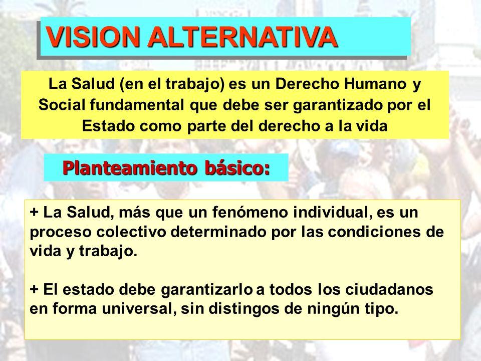 Planteamiento básico: VISION ALTERNATIVA La Salud (en el trabajo) es un Derecho Humano y Social fundamental que debe ser garantizado por el Estado com