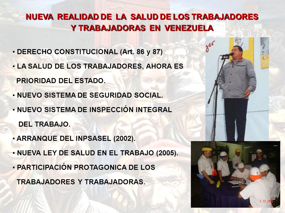 DERECHO CONSTITUCIONAL (Art.86 y 87) LA SALUD DE LOS TRABAJADORES, AHORA ES PRIORIDAD DEL ESTADO.