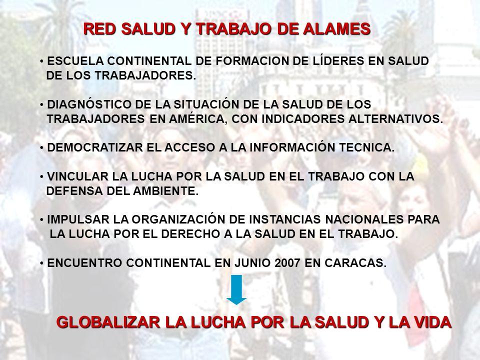 RED SALUD Y TRABAJO DE ALAMES ESCUELA CONTINENTAL DE FORMACION DE LÍDERES EN SALUD DE LOS TRABAJADORES.