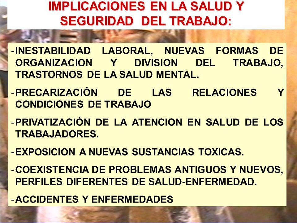 IMPLICACIONES EN LA SALUD Y SEGURIDAD DEL TRABAJO: -INESTABILIDAD LABORAL, NUEVAS FORMAS DE ORGANIZACION Y DIVISION DEL TRABAJO, TRASTORNOS DE LA SALUD MENTAL.