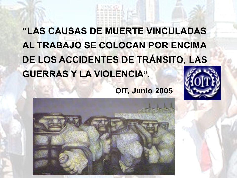 LAS CAUSAS DE MUERTE VINCULADAS AL TRABAJO SE COLOCAN POR ENCIMA DE LOS ACCIDENTES DE TRÁNSITO, LAS GUERRAS Y LA VIOLENCIA. OIT, Junio 2005