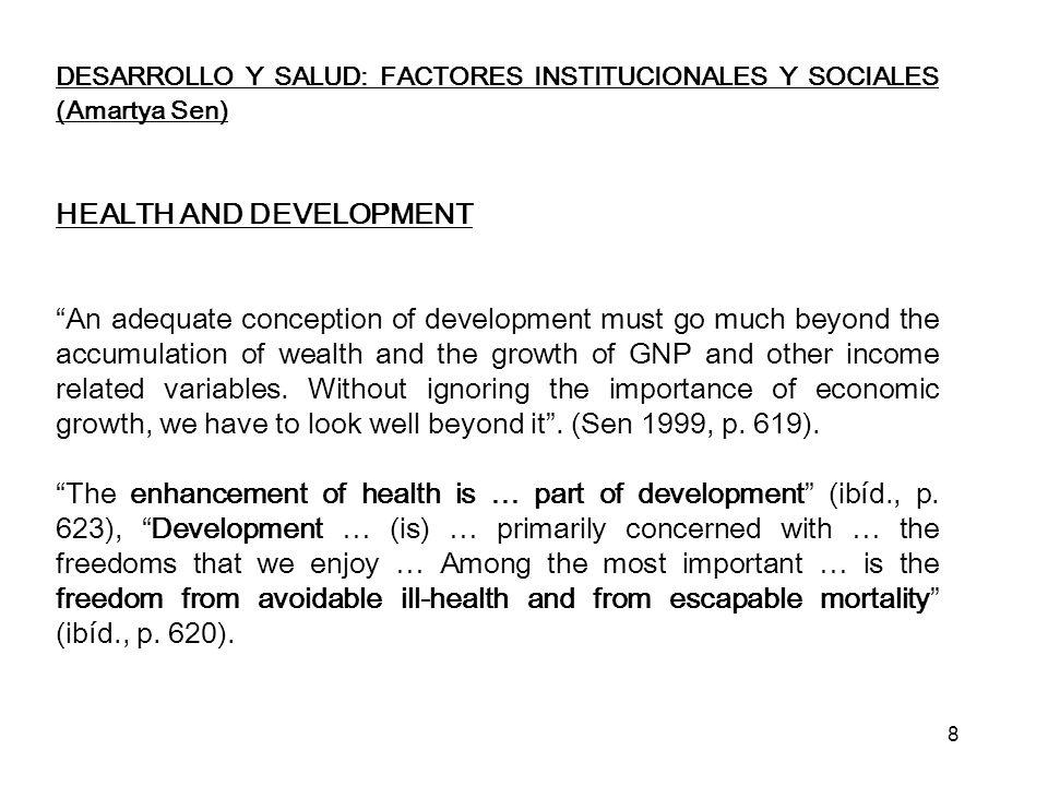 DESARROLLO Y SALUD: FACTORES INSTITUCIONALES Y SOCIALES (Amartya Sen) REDUCCIÓN DE LA MORTALIDAD GROWTH-MEDIATED (por ejemplo KOREA) Como consecuencia hubo expansión de los servicios sociales, servicios médicos, educación y seguridad social Crecimiento rápido a base del crecimiento del empleo a larga escala SUPPORT-LED (por ejemplo: COSTA RICA, SRI LANKA, KERALA http://en.wikipedia.org/wiki/Kerala ) http://en.wikipedia.org/wiki/Kerala Reducción de la mortalidad basada en programas enfocados y específicos de apoyo social, servicios médicos y educación.