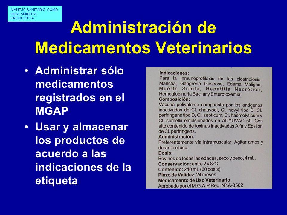 Administración de Medicamentos Veterinarios Administrar sólo medicamentos registrados en el MGAP Usar y almacenar los productos de acuerdo a las indic
