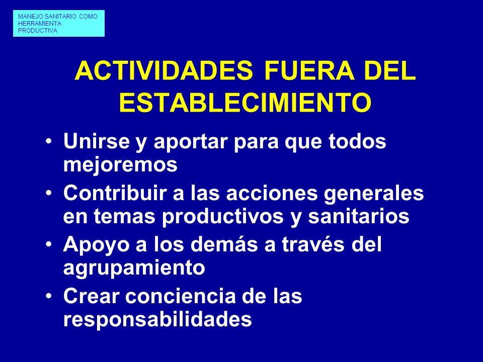 ACTIVIDADES FUERA DEL ESTABLECIMIENTO Unirse y aportar para que todos mejoremos Contribuir a las acciones generales en temas productivos y sanitarios