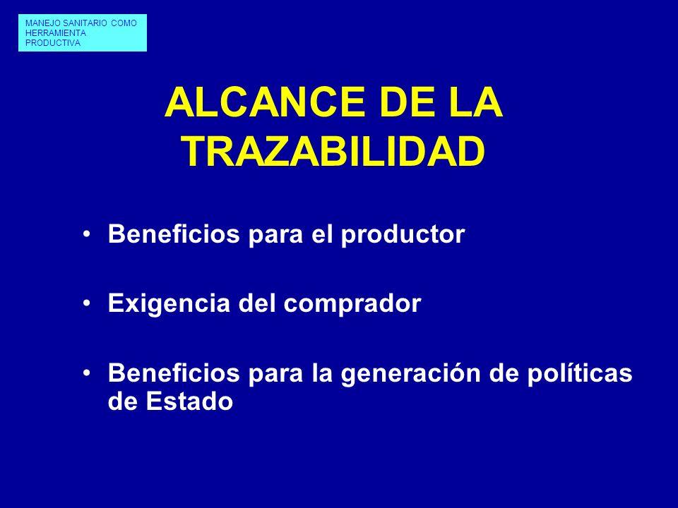 ALCANCE DE LA TRAZABILIDAD Beneficios para el productor Exigencia del comprador Beneficios para la generación de políticas de Estado MANEJO SANITARIO