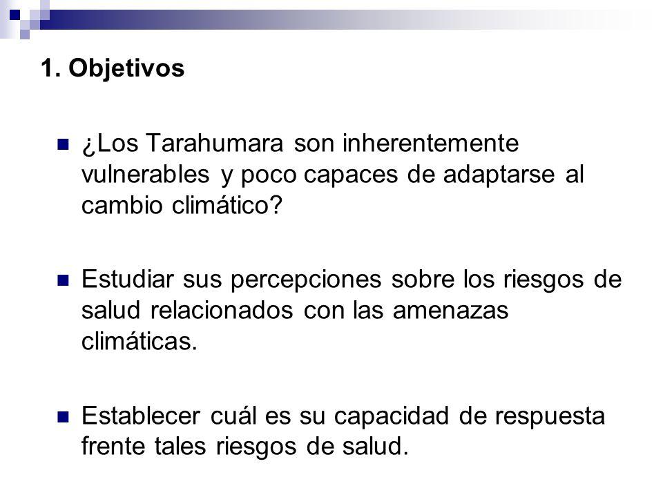 1. Objetivos ¿Los Tarahumara son inherentemente vulnerables y poco capaces de adaptarse al cambio climático? Estudiar sus percepciones sobre los riesg