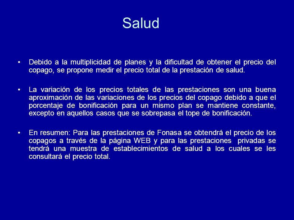 Salud Debido a la multiplicidad de planes y la dificultad de obtener el precio del copago, se propone medir el precio total de la prestación de salud.