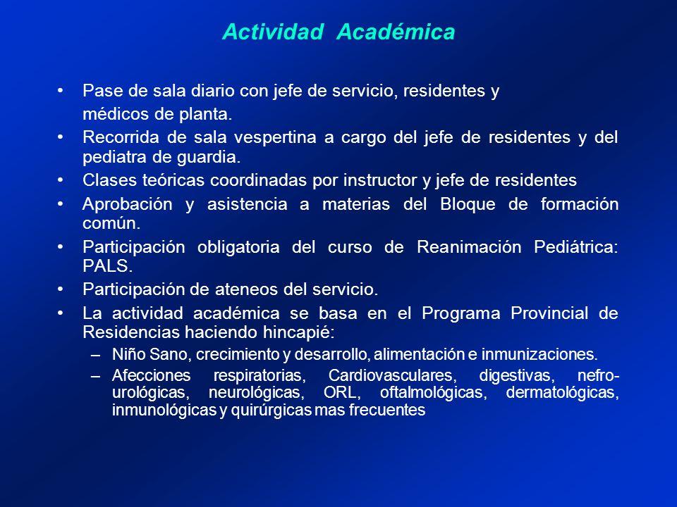Actividad Académica Pase de sala diario con jefe de servicio, residentes y médicos de planta.