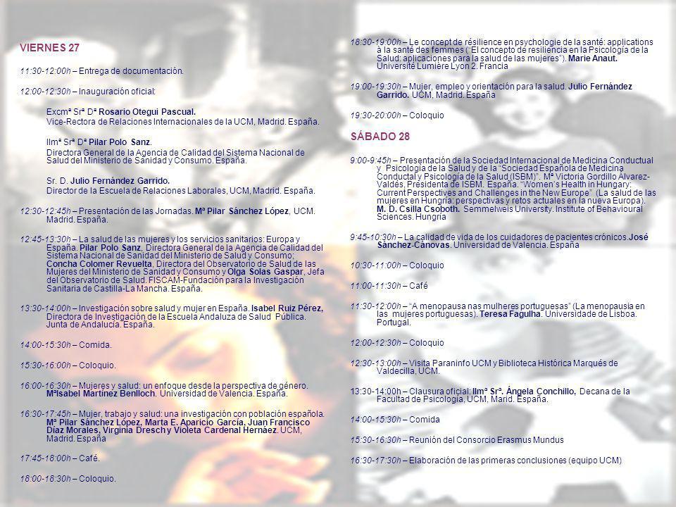 VIERNES 27 11:30-12:00h – Entrega de documentación.