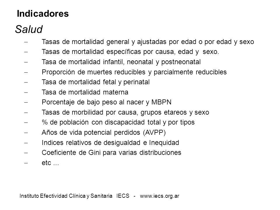 Instituto Efectividad Clínica y Sanitaria IECS - www.iecs.org.ar Indicadores Salud Tasas de mortalidad general y ajustadas por edad o por edad y sexo