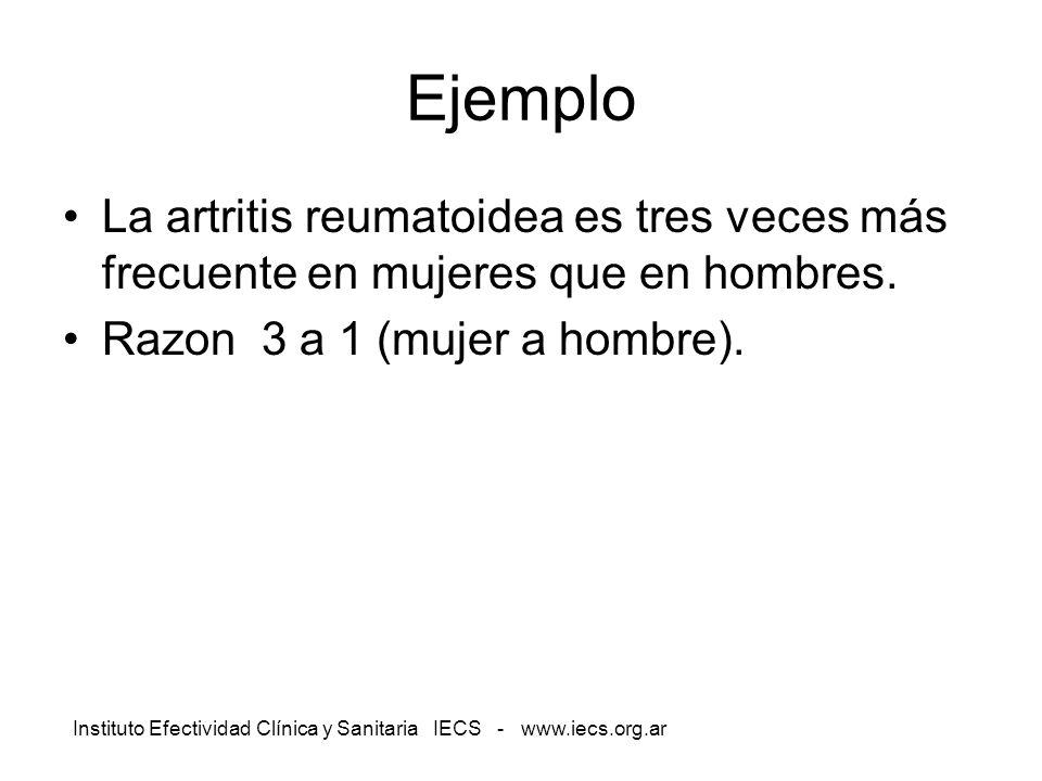 Instituto Efectividad Clínica y Sanitaria IECS - www.iecs.org.ar Ejemplo La artritis reumatoidea es tres veces más frecuente en mujeres que en hombres