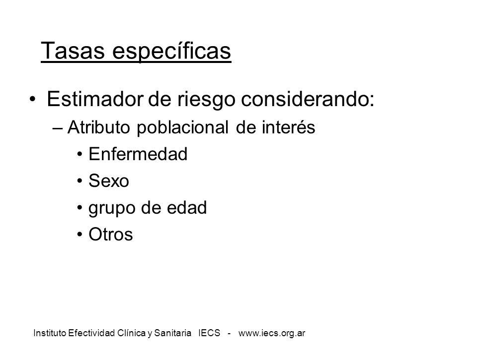 Instituto Efectividad Clínica y Sanitaria IECS - www.iecs.org.ar Tasas específicas Estimador de riesgo considerando: –Atributo poblacional de interés