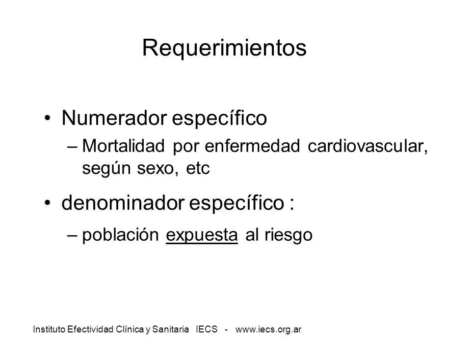 Instituto Efectividad Clínica y Sanitaria IECS - www.iecs.org.ar Requerimientos Numerador específico –Mortalidad por enfermedad cardiovascular, según