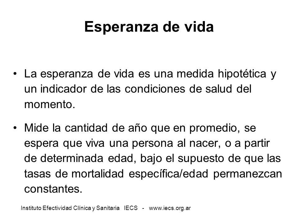 Instituto Efectividad Clínica y Sanitaria IECS - www.iecs.org.ar Esperanza de vida La esperanza de vida es una medida hipotética y un indicador de las
