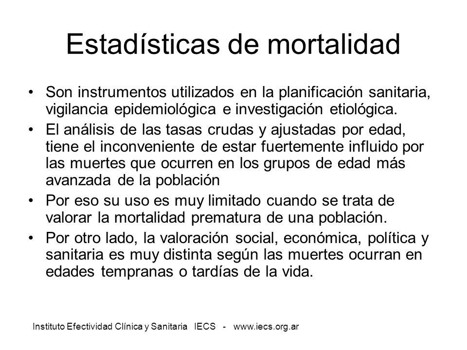 Instituto Efectividad Clínica y Sanitaria IECS - www.iecs.org.ar Estadísticas de mortalidad Son instrumentos utilizados en la planificación sanitaria,